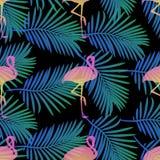 Flamingos sem emenda e fundo em folha de palmeira do teste padrão imagem de stock royalty free
