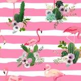 Flamingovogel en de Tropische Achtergrond van Cactusbloemen Retro naadloos patroon Stock Foto's