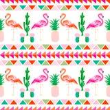 Flamingovogel met tropische cactus en ananasbedelaars royalty-vrije illustratie