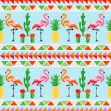 Flamingovogel met tropische cactus en ananasbedelaars stock illustratie