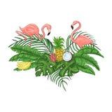 Flamingovogel-Parteieinladung Tropisches hawaiisches Plakat lizenzfreies stockfoto
