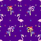 Flamingoweihnachtsnahtloses Muster Lizenzfreies Stockbild