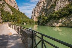 Flaminia road near the river Metauro, Furlo gorge Stock Photo