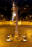 Flaminy obelisk on Popolo Square (People's Square).Night city landscape Royalty Free Stock Photo