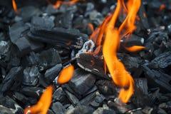 Flamma av brand och gnistor Fotografering för Bildbyråer