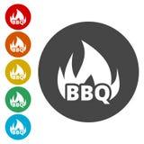 Flamma beståndsdelen för design för BBQ-partiord royaltyfri illustrationer