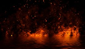 Flamma brandflammatextur p? isolerad bakgrund med vattenreflexion royaltyfri illustrationer