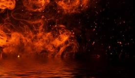 Flamma brandflammatextur p? isolerad bakgrund med vattenreflexion vektor illustrationer