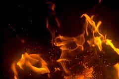 Flamma med gnistor Fotografering för Bildbyråer