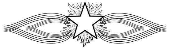 Flamma stjärnatatueringen på isolerad svart garnering royaltyfri illustrationer