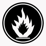 Flammable caution sign fire vector isolated danger warning icon. Flammable caution sign with fire symbol. Warning or danger precaution vector isolated icon or Royalty Free Stock Photos