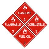 Flammable and Combustible Liquid Warning Placards. United States Department of Transportation flammable and combustible liquids warning placards isolated on Royalty Free Stock Photo