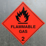 Flammable Gas Hazard Warning Sign. On a Fuel Tank Stock Photo