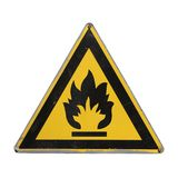 Icon flammable. Yellow triangle. Isolated. Flammable icon. Yellow triangle. Sign for collage on white background Royalty Free Stock Photo
