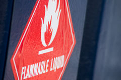 Flammable liquid. Signage to warn of the flammable contents Royalty Free Stock Photos