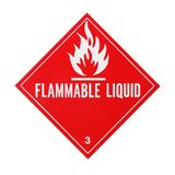 Flammable Liquid Placard. Isolated on a white background Royalty Free Stock Photos