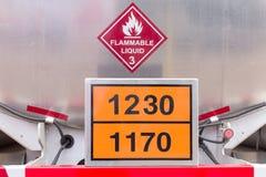 Flammable liquid tank on truck Stock Photos