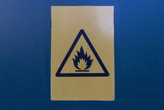 Flammable material. Warning sign about flammable substances Royalty Free Stock Photos