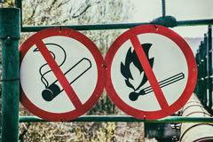 Flammable material warning signs Stock Image