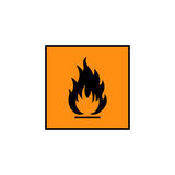 Flammable sign icon. Flammable sign, flame pictogram. Orange square framed by a black line vector icon Stock Images