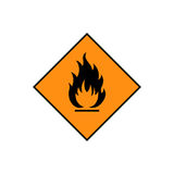 Flammable sign icon. Flammable sign, flame pictogram. Orange square framed by a black line vector icon Royalty Free Stock Photography