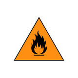 Flammable sign icon. Flammable sign, flame pictogram. Orange triangle framed by a black line vector icon Royalty Free Stock Image