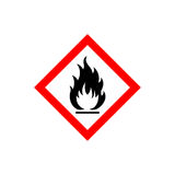 Flammable sign icon. Flammable sign, flame pictogram. White square framed by a red line vector icon Stock Photo