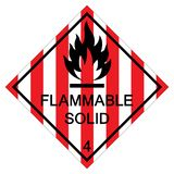 Flammable Solid Symbol Sign Isolate On White Background,Vector Illustration EPS.10. Danger, icon, chemical, label, hazard, safety, flame, fire, set, warning stock illustration