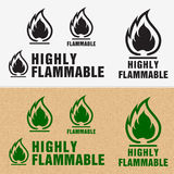 Flammable Symbol. Fire Icon. Packaging Symbol for Delivery of Ca Stock Photos