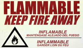 Flammable Warning Sign. A sign warning of potential fire hazards Stock Photography