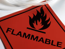 Flammable Warning Sign. A sign warning of hazardous flammable materials Royalty Free Stock Photo