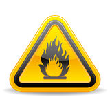 Flammable warning sign. Yellow triangle flammable warning sign Royalty Free Stock Image