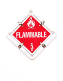 Flammable Warning Sign. Red flammable warning sign with flame symbol Stock Photography