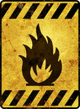 Flammable Warning Sign. An rusty flammable warning sign in yellow and black Royalty Free Stock Photography