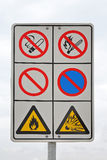 Flammable warning. Sign with warning for flammable and explosion danger Stock Photography