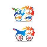 Flammacykel stock illustrationer
