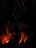 Flammadans i kol Royaltyfri Fotografi