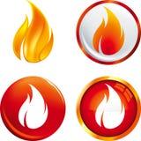 Flammaknappar vektor illustrationer