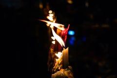 Flamman av stearinljusljuset Fotografering för Bildbyråer