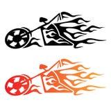 Flammande beställnings- Chopper Motorcycle Logo stock illustrationer