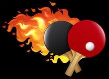 Flammande bordtennisuppsättning stock illustrationer