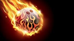 Flammande bowlingklot på svart bakgrund Tvformatbaner Illustration för vektorgemkonst Arkivbild
