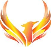 Flammande flyga phoenix för materiellogo royaltyfri illustrationer