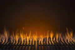 Flammande grillfestgallerbakgrund Arkivfoto