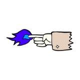 flammande peka fingersymbol för komisk tecknad film Royaltyfria Foton