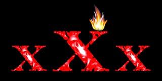 Flammande röd text xxx på en svart bakgrund Arkivbilder