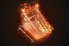 Flammande shoppingvagn äganderätt för home tangent för affärsidé som guld- ner skyen till illustration 3d Royaltyfri Illustrationer