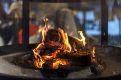 Flammande vedträn i en modern spis arkivbilder