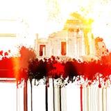Flammar den forntida roman templet för fantasin med brand och effekter seamless vektor för elementdiagramillustration Arkivfoto