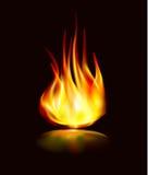 Flammasymbolsbrand med reflexion Arkivfoton